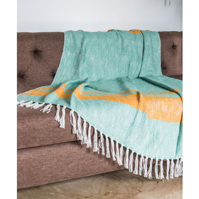 Samarkand_Subtle_Green_Cotton_Throw-Dohars, Quilts and Throws-Ode and Cleo-2974