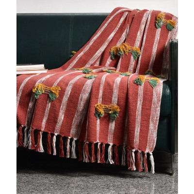 Samarkand_Red_Strip_Cotton_Throw-Dohars, Quilts and Throws-Ode and Cleo-2981