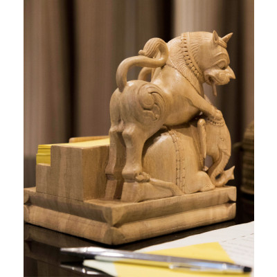 Gajasimha_Note_Holder:_Wood-Desk Accessories-Karu-Handcrafted Luxury-1823