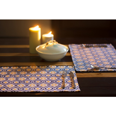 Cyan_Ikkat_Table_Placemat_(Set_of_Two)-Table Linen-Auruhfy-707