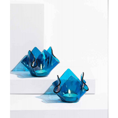 Crumpled_Votive:_Blue-Candle Stands and Tea Light Holders-Glass Forest-4000