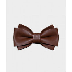 MEN'S_GENUINE_LEATHER_BOW_TIE_-_TWIN_WIDE_DARK_TAN-Neckties-Forth-2659