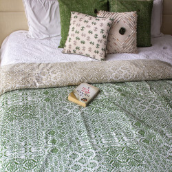 OLIVE_IKAT_DUVET_COVER-Dohars, Quilts and Throws-IDAM-3515