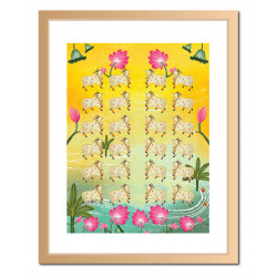 Holy_Cow_Pattern_Yellow(-Wall Art-Doodle Dabba-3834